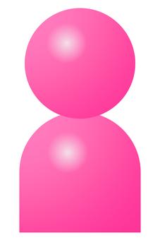 3D 바람 인물 아이콘 픽토그램 핑크