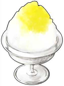 Lemon flavored ice with outlines