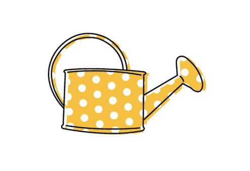 Yellow watering vessel