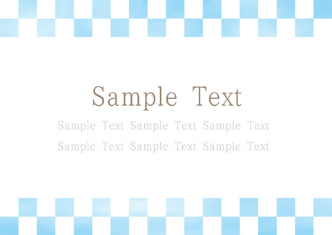 Watercolor hand-painted style Japanese pattern checkered blue / blue
