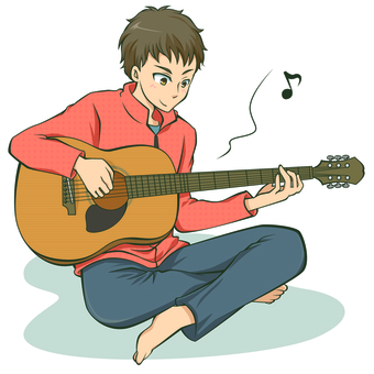 A boy playing the guitar