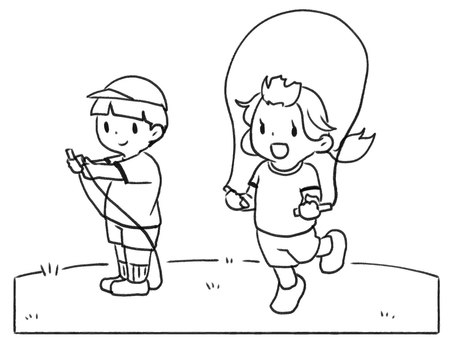 [Line drawing] Elementary school students who are jumping [black and white]