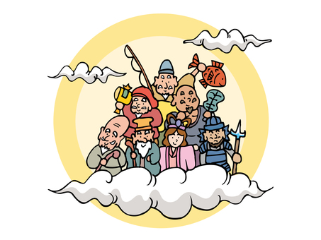 Seven Lucky Gods above the clouds