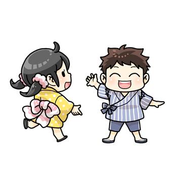 Children wearing yukata