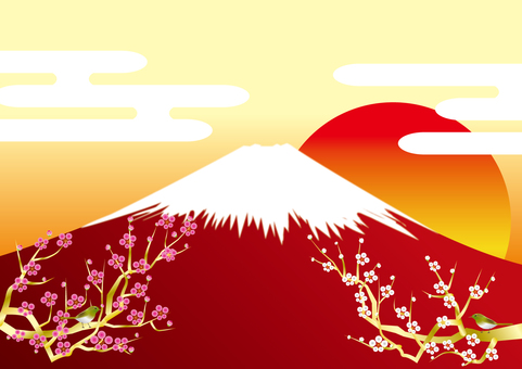 Red Fuji and clouds and red and white plum