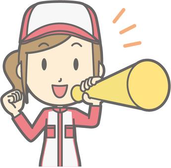 Mechanic woman - megaphone - bust