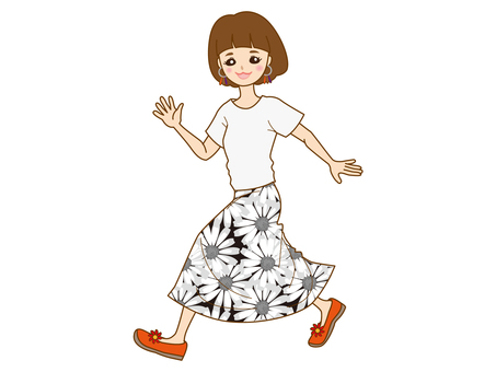 Girl running with floral skirt