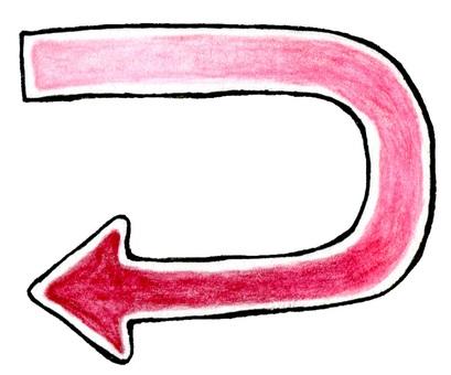 Red watercolor arrow