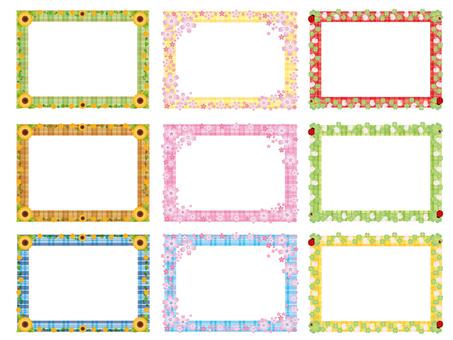 여러가지 꽃 프레임 체크 무늬