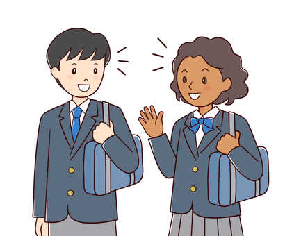 Black girl and Japanese boy