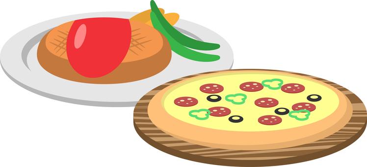 Pizza and hamburger steak