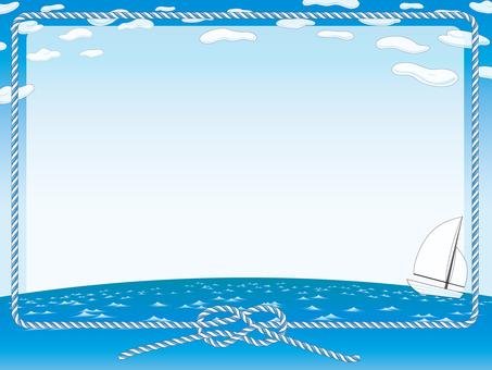 雲,天空,大海,繩索和遊艇