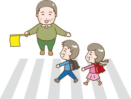 Two children crossing a pedestrian crossing