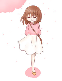 一人歩き(桜)