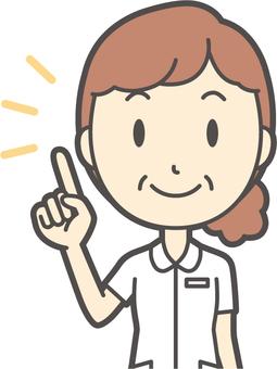 Middle-aged woman nurse white coat-223-Bust