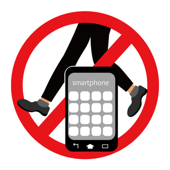 Walking smartphone prohibition mark