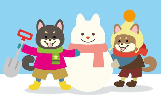柴犬-二匹-雪だるま作り-全身