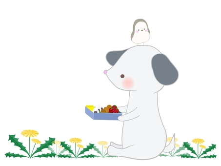 Illustration of a dog having a picnic