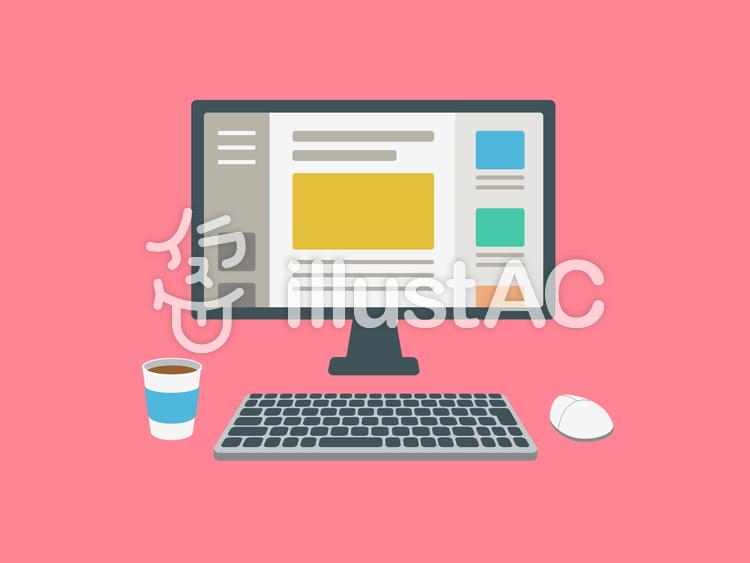 デスクトップパソコン ブログ 画面のイラスト