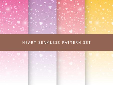 하트 원활한 패턴 세트