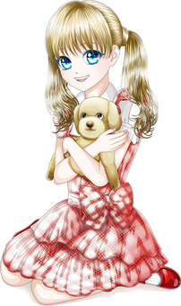 Twin tail girl sitting and holding a puppy Whole body