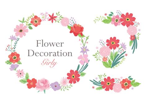 Red flower decoration set