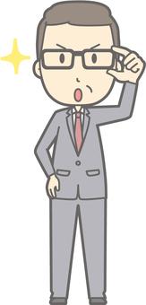 Middle-aged man suit - Glasses Kirari 1 - whole body