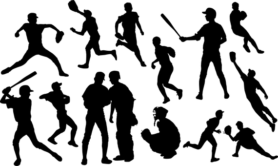 Baseball player _ Silhouette _ Set _ 02 _ Black