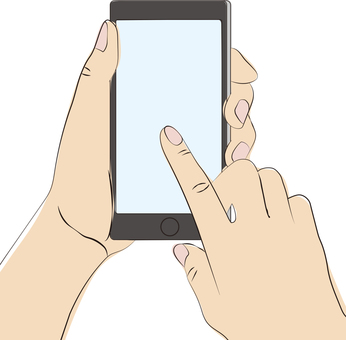Hand ruff illustration for operating a smartphone