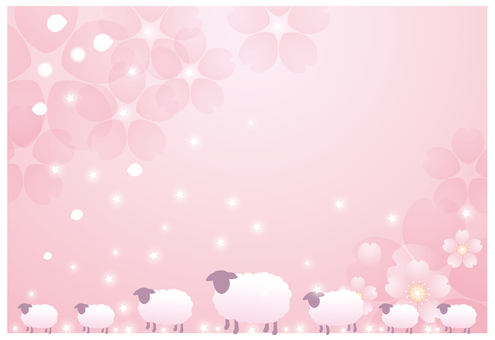 Pink flower background and sheep 1