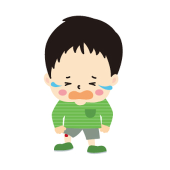 A boy who is injured and cries