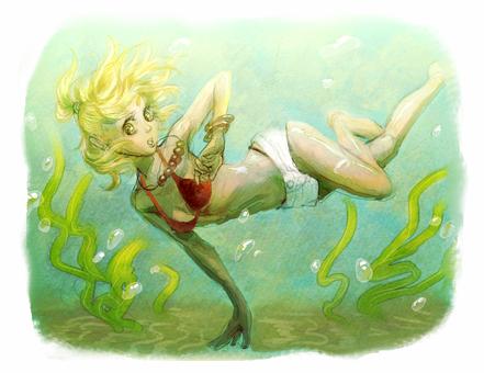 Bikini's girls who dive in (hand-painted)