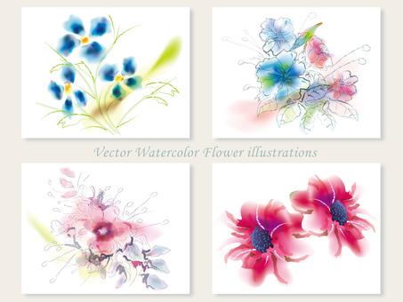 수채화 풍 꽃 일러스트 세트 1