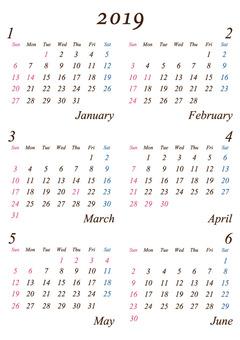 First half of 2019 A4 simple calendar
