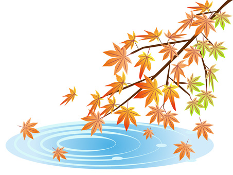Scenery of autumnal leaves on the waterside