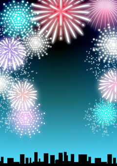 Fireworks and night sky background, vertical type