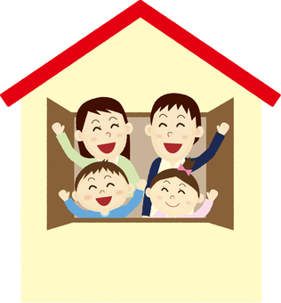 A family waving a hand from home