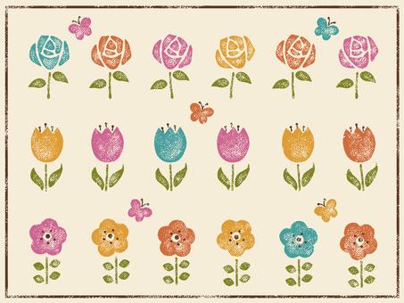 レトロなお花のスタンプ