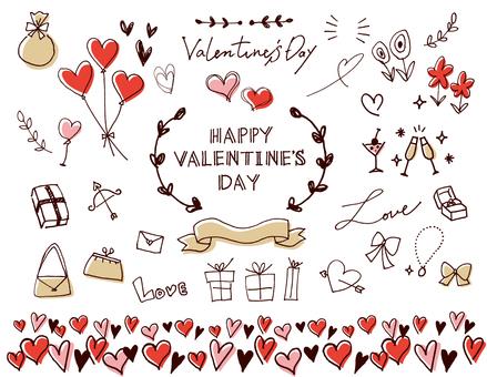 하트와 리본 발렌타인 세트 2