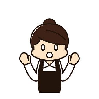 Restaurant Female store clerk Surprise