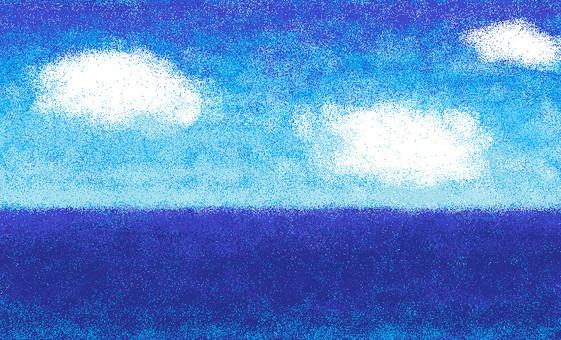 Horizontal line and blue sky
