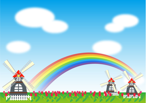 Windmill and rainbow
