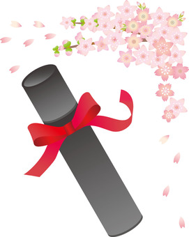 Diploma and cherry blossoms