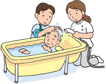 Assisting bath care worker illustration