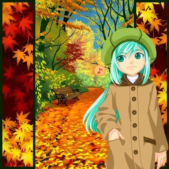在秋天綠樹成蔭的街道1