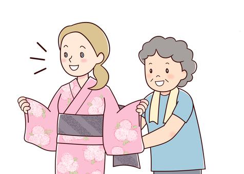 White women wearing yukata