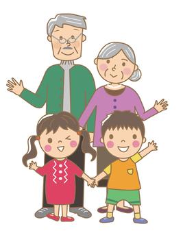 Child _ grandpa and grandma