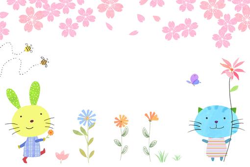 Cherry blossom cute animal