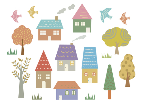 Tree and house icon set