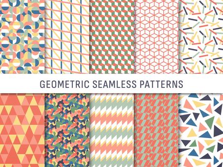 幾何学模様のシームレスパターンセット